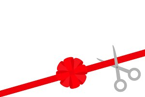 Scissors cut red ribbon Red bow