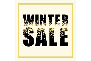 Festive luxury banner WINTER SALE with glamour golden glitter confetti