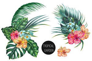 Tropical leaves,flowers illustration