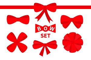 Red ribbon Christmas bow icon set.