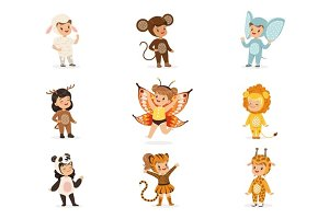 Kinds In Animal Costume Disguise Happy And Ready For Halloween Masquerade Party Collection Of Cute Disguised Infants