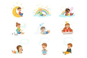 Happy kids dreaming and fantasizing. Cartoon detailed colorful Illustrations