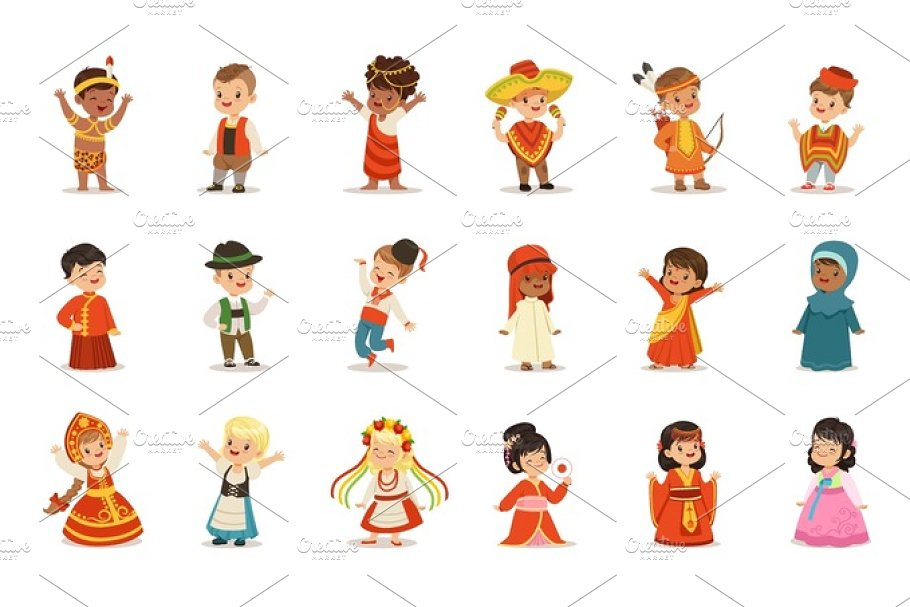 5d5d0a7b6 Kids Wearing National Costumes Of Different Countries Set Of Cute ...
