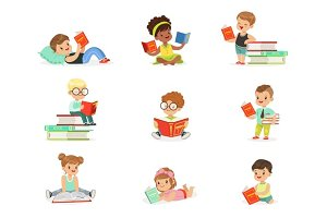 Kids Reading Books And Enjoying Literature Collection Of Cute Boys And Girls Loving To Read Sitting And Laying Surrounded With Piles Of Books.