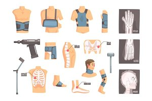 Orthopedic Surgery And Orthopaedics Attributes And Tools Set Of Cartoon Icons With Bandages, X-rays And Other Medical Objects.