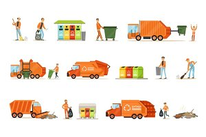 Garbage Collector At Work Set Of Illustrations With Smiling Recycling And Waste Collecting Worker