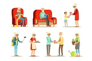 Old People Living Full Live And Enjoying Their Hobbies And Leisure Set Of Smiling Elderly Cartoon Characters