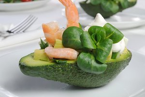 appetizer of avocado and shrimp