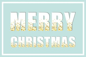 Festive luxury banner Merry Christmas with glamour golden glitter confetti