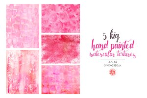 5 Watercolor Textures in Pink