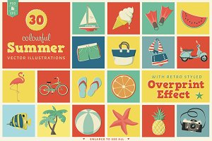 30 Colourful Summer Vector Objects