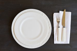 Tableware set on table