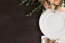 Tableware set on table