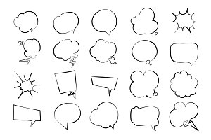 empty speech bubbles set.