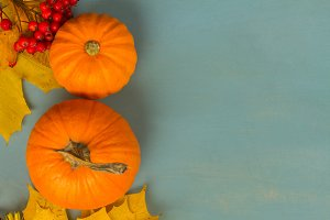 pumpkins on blue table
