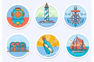Nautical, sailing marine and more.Vector illustration in line color art style.