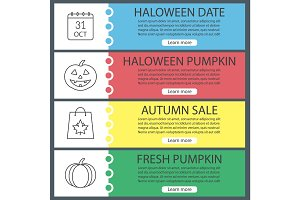 Halloween web banner templates set