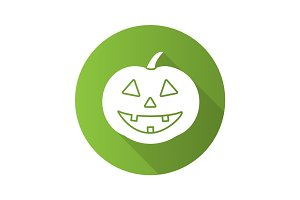 Halloween pumpkin flat design long shadow glyph icon
