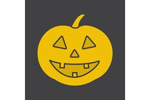 Halloween pumpkin glyph color icon