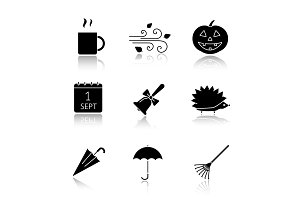 Autumn season drop shadow black glyph icons set