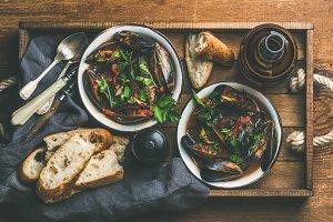 Belgian boiled mussels