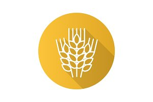 Wheat ears flat linear long shadow icon