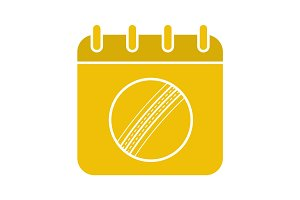 Cricket championship date glyph color icon