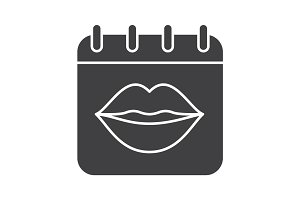 International Kissing Day glyph icon