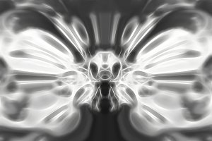 Abstract black and white alien symmetric