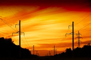 Sunset power line field background