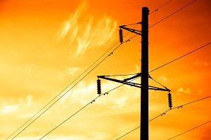 Sunset power line background