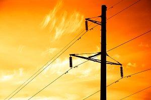 Sunset power line background