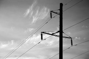 Black and white power line background