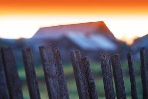 Sunset fence bokeh background