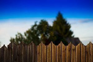 Day countryside fence bokeh background