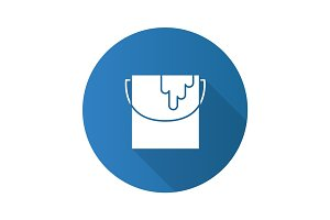 Paint bucket flat design long shadow glyph icon