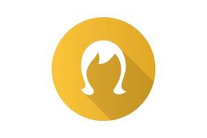 Wig flat design long shadow glyph icon