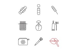 Cosmetics accessories linear icons set