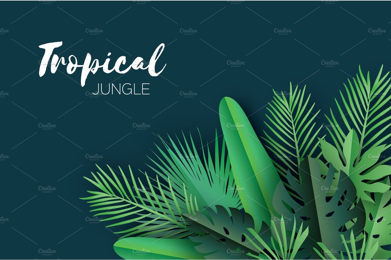 Trendy Summer Tropical palm leaves and plants in paper cut ... - photo#30