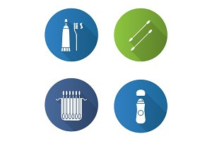 Hygienic products flat design long shadow glyph icons set