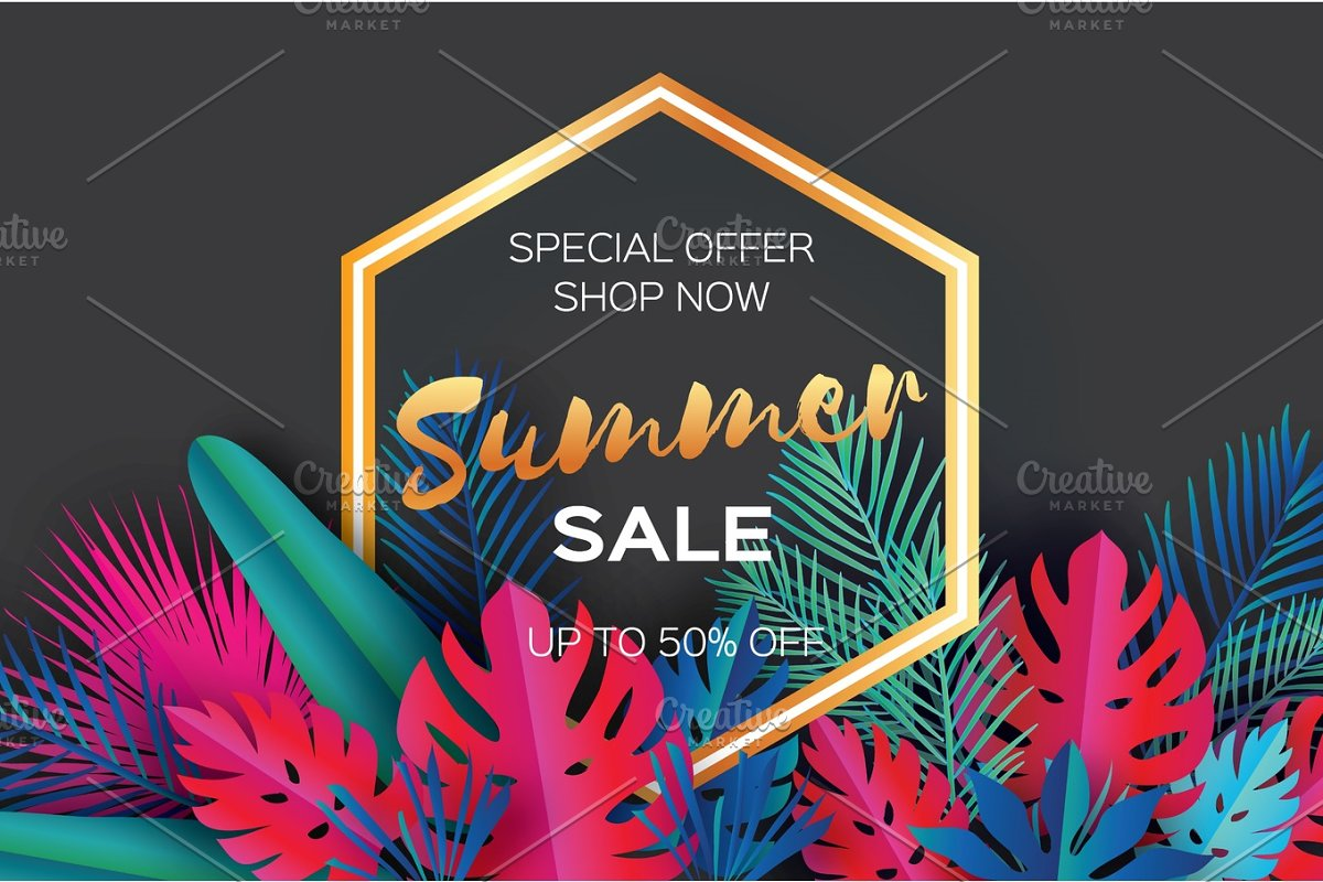 Trendy Summer Sale Template Banner Paper Art Tropical Palm Leaves