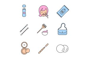 Cosmetics accessories color icons set