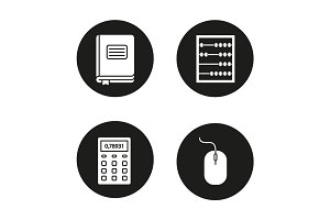 Accounting glyph icons set