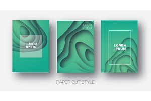 Paper Cut Wave Shapes. Layered curve Origami design for business presentations, flyers, posters. Set of 3 vertical banners. 3D abstract map carving. Text. Frame. Aquamarine Blue. Vector