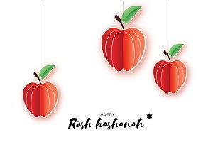 Jewish New Year, Rosh Hashanah. Apple Paper cut style. Holiday. Vector