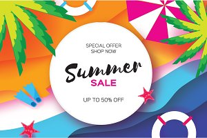 Summer Sale Template banner. Beach rest. Summer vacantion. Top view on colorful beach elements. Circle frame with space for text. Paper art style. Vector
