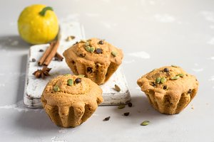 Autumn pumpkin muffins with spices, chocolate drops and pumpkin