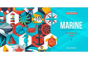 Marine creative flyer. Vector illustration