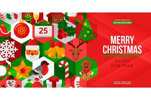 Christmas and New year creative flyer