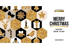 Greeting Card with White, Black and Gold Mosaic